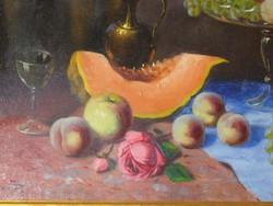 Incze Béla Asztali csendélet gyümölcsökkel 80x66 cm