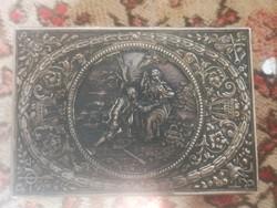 Antik ezüst német rosenau doboz angyal