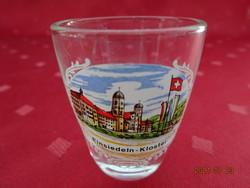 Üveg pálinkás kupica Einsiedeln - Kloster felirattal és látképpel, magassága 5 cm. Vanneki!