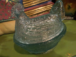 13 x 12 cm-es , régi , világoskék üvegtyúkocska /cukortartó .