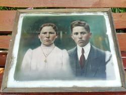 Antik színezett, festett portré fotó