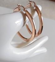Dekoratív ezüst karika fülbevaló, rózsaaranyozott
