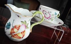 Ó Herendi Fruit Chantilly mintás porcelán teáscsésze és kiöntő