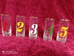 Retró, 5 db számos pohár, számozott pálinkás pohár, likőrös pohár