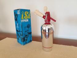 Régi retro design ezüst piros szódásszifon Isi syphon szifon dobozában