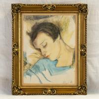 Sleeping girl with iron battery (1887-1957)
