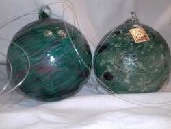 Jelzett EISCH irizáló tengerkék vastag falú üveg gömb párban karácsonyfa dísz is ablak dísz is lehet