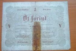 1848 as 5 forint Kossuth bankó papírpénz bankjegy 48 49 es szabadságharc pénz cellux csíkos