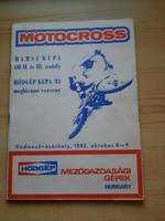 Műsorfüzet: MOTOCROSS MAMSZ KUPA OB. II. és III. osztály meghívásos verseny 1983.