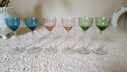 6 db.retro,színes,csiszolt likőrös-pálinkás pohár