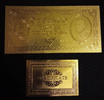 24 Kt gold five, ten twenty pengo banknote certificate