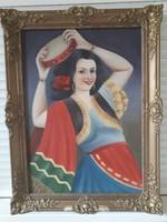 Olaj, vászon festmény.Blondel keretben.87*67cm
