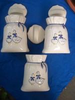 3 darab nagyobb méretű zsákocska forma konyhai fedeles fajansz  tároló kedves dekorral