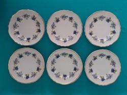 6 db hollóházi szeder mintás süteményes tányér