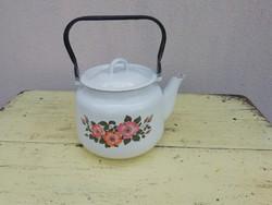 Retro zománcozott virágmintás teafőző, teáskanna