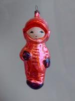 Régi üveg karácsonyfadísz retro űrhajós üvegdísz