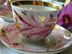 Dekoratív Lomonosov porcelán teás-kávés szett 6 db, csésze kistányér, lila