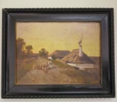 Jelzett olaj festmény keretében