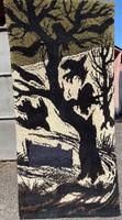 Kézi csomózású művészi suba faliszőnyeg