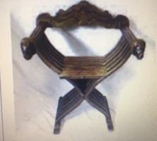 Vintage olasz Savonarola faragott szék