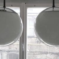 Bauhaus - Art deco krómozott mennyezeti lámpa pár felújítva - tejüveg gömb búra