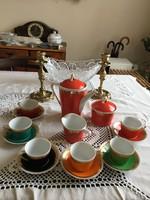 Hollóházi retro színes kávéskészlet ( mind century ) .