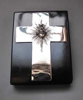 'Jézus szíve', régi ezüst kereszt plakett.