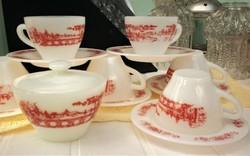 Tejüveg teás készlet, jelenetes Rigopal