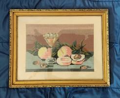 Gobelin kép gyümölcs csendélet üvegezett aranyozott keretben