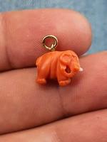 Antik koral elefánt eladó arany karikával