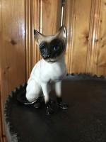 Sziámi cica macska porcelán szobor figura