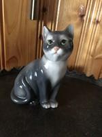 Porcelán cica figura macska szobor