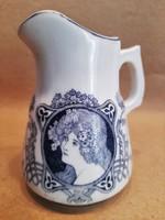 Antik szecessziós vastagfalú porcelán kiöntő