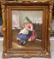 Turmayer Sándor (1879-1953) : Hímző nő