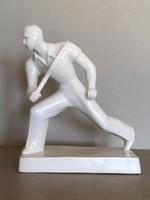 Zsolnay szobor, férfi teniszező, Lonkay Antal, 1930 körül.