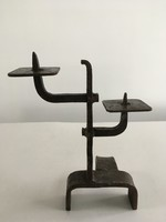 Retro, iparművész, fém, kovácsoltvas modern-brutalista stílusú gyertyatartó