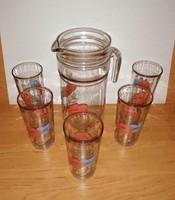 Virágmintás üveg limonádés ital készlet 1 kancsó 5 pohár (F-1)