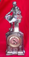 Art-deco silver-plated antique burner desk clock