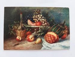 Régi képeslap 1915  konyhai csendélet levelezőlap gyümölcsök