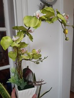Yellowish green bifurcated orchid in artificial flower - ceramic