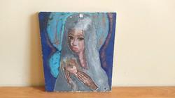 Ikonszerű festmény, szignózott 26x22 cm