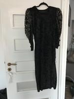 Nagyon elegáns alkalmi vintage egyedi fekete bársony ruha