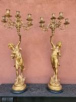 Nő alakos tűziaranyozott bronz gyertyatartópár