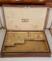 Antik 12 személyes ezüst evőeszköz készlet tartó fa doboz