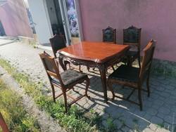 Bécsi barokk étkező asztal 4+1db székkel