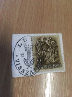 1938 Léva visszatért bélyegzés képeslap kivágáson .