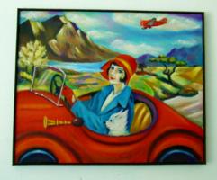 Menjünk gyerekek vidáman / art deco /  Seres Sándor olaj festménye