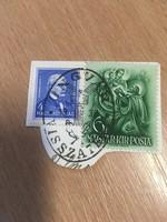 1938 Ungvár visszatért bélyegzés képeslap kivágáson .