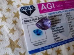 9.45 karátos ceyloni lila zafír drágakő tanúsítvánnyal