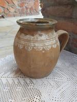 22 cm magas kerámia szép régi köcsög szilke paraszti falusi dekoráció nosztalgia darab keménycserép